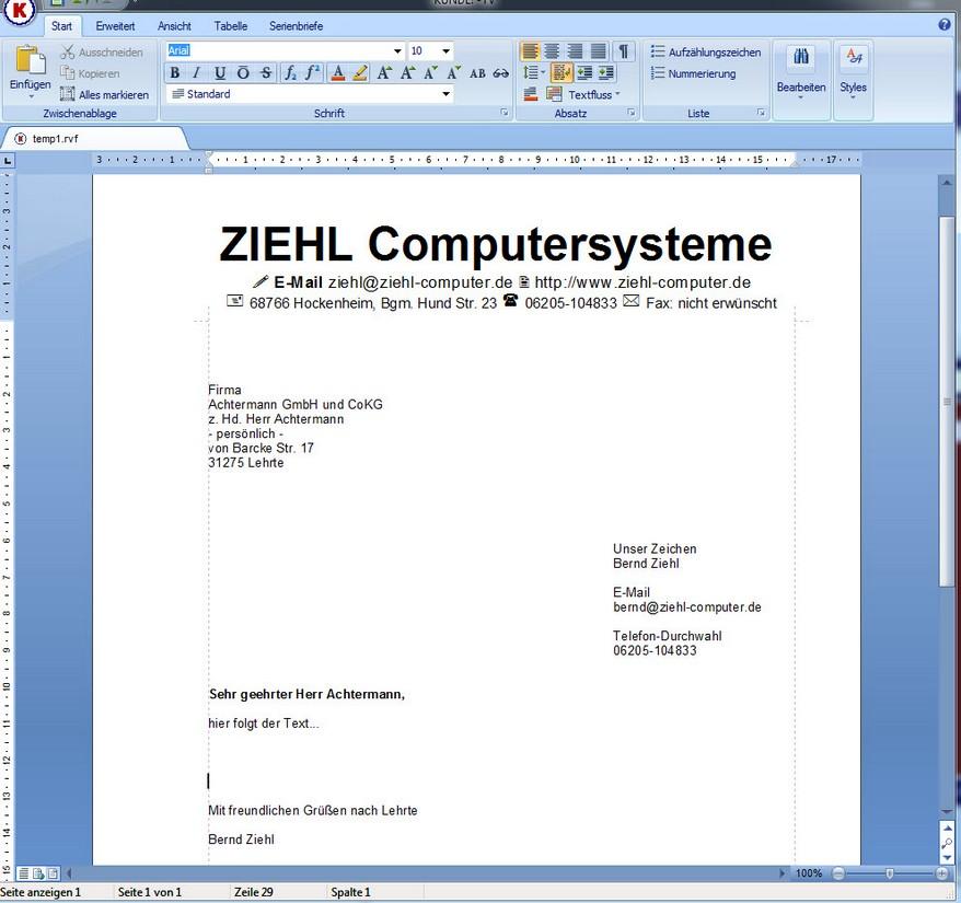 Briefe Schreiben Mit Computer : Briefe mit kunde text ziehl computersysteme